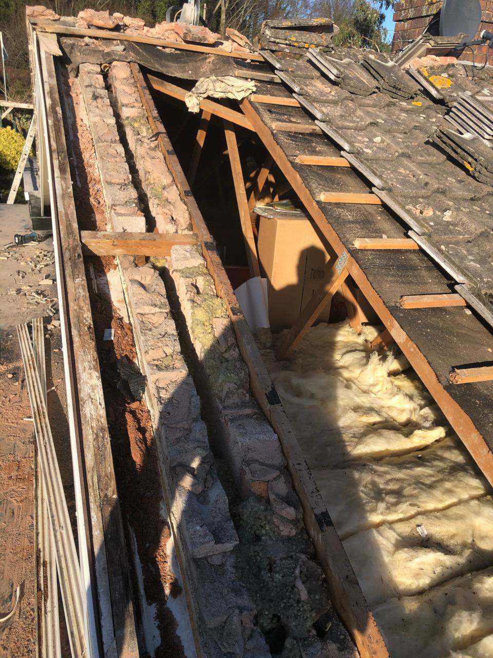 Tiled roof repair in Llanddulas, Conwy.